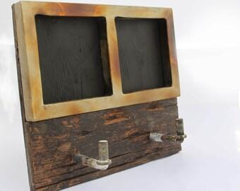 Rustic Reclaimed Chalkboard Coat Rack with Metal Frame
