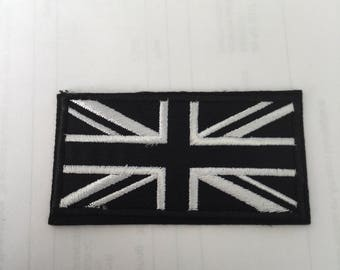 Union Jack Black And White Embroidered Patch  Iron Or Sew