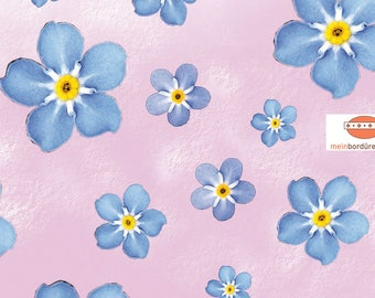 self-adhesive fleece trim: forget-me-not - flowers | Borders, flowers, romantic, blue flowers, wall decals, wall border