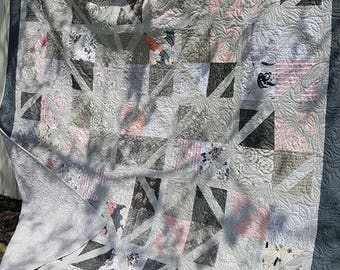 Grey and Pink Queen Quilt