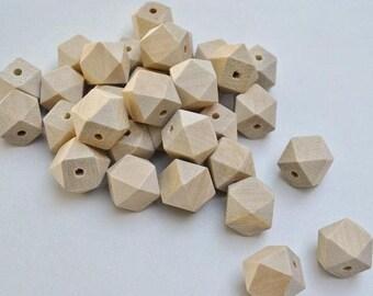 10 x 20mm Natural Wooden Hexagon Beads