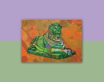 Nottingham - Left Lion Statue Postcard