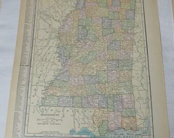 1915 Missippi Original Antique Map