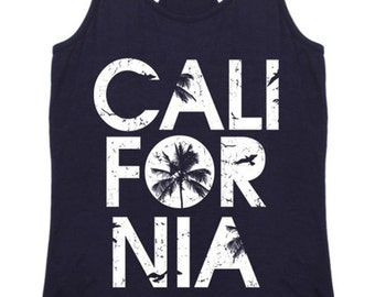 California Womens Racerback Tank Top Graphic Shirt