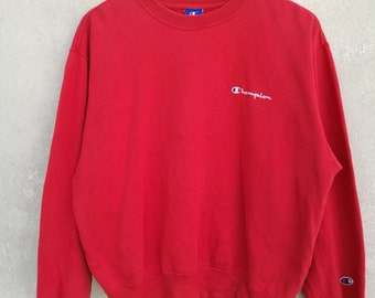 SALE!!! Vintage Champion USA Sweatshirt Crewneck Embroided Chest Spellout Small Logo Size L Made In Japan l Adidas l Nike l Fila l Ellesse