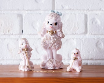 Vintage Pink & Gold Poodle Trio Ornaments Made In Japan