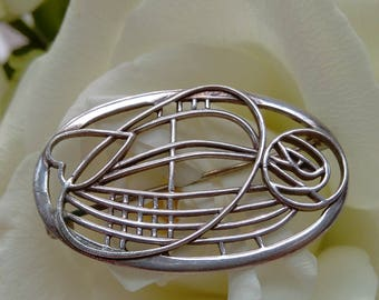 Vintage Carrick Jewellery Ltd Sterling Silver Rennie Mackintosh Style Brooch - Boxed.   5.9g.  Special Offer