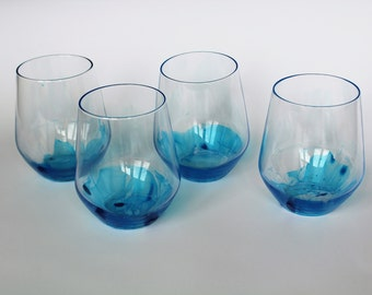 Set of 4 clear glass with blue bottom