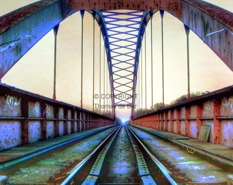 "limited artistic Photography ""Iron Bridge"" by Thomas de Bur Germany 100% cotton canvas fine art gallery photograph certificate"