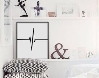 Heartbeat, Heartbeat Print, Heartbeat Printable, Minimalist print, Minimalist Wall Art