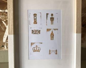 Modern Picture print of British Symbols