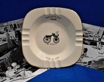 YOU AUTO BUY Parade 1958 Souvenir Ashtray...Ceramic...22 Karat Gold Trim