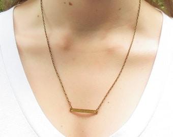 Bar Necklace, brass bar necklace, pendant necklace, layering necklace, bronze bar necklace, everyday, minimalist, horizontal bar, antiqued