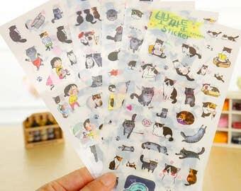 6 Sheets Set ~ Kawaii Cats Stickers, Cute Cat Stickers ~ Kawaii Stickers ~ Cats Stationery, Scrapbooking, Cat Lover, Cats, Kitten, Funny Cat