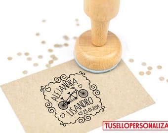 Stamp for weddings, wood mounted.