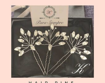 Diamante hair pin - wedding hair pins, bridal hair pins, wedding hair, bridal hair, diamante hair grip, silver hair grip, diamante hair comb