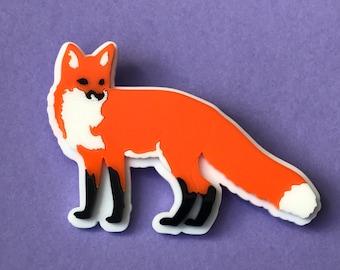 Laser cut acrylic Fox Brooch - Plastic jewellery - perspex - woodland creatures - statement jewellery - Foxy