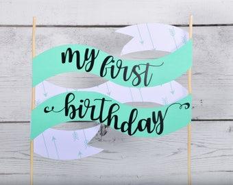 Custom Cake Banner, First Birthday, Cake Topper