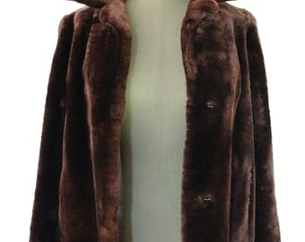 Vintage Golden Brown Mouton Coat