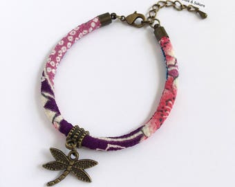 Purple Japanese chirimen cord and Dragonfly charm bracelet
