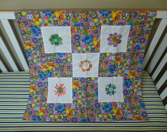 Receiving Baby Blanket With Flower Theme