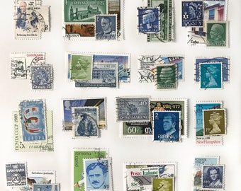 35pc Vintage Green, Blue Postage Stamps