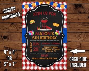 BBQ Birthday Invitation, BBQ Birthday Invite, BBQ Party Invite, Printable, Digital File - 035