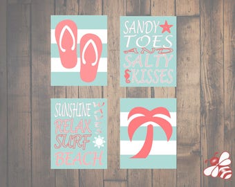 Set of Four (4) 8x10 Beach Prints Teal/Coral