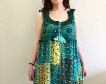 Upcycled Clothing, Recycled Clothing, Gypsy Clothing, Boho Clothing, Upcyled Recycled Repurposed Clothing, Patchwork Top Tunic Dresses