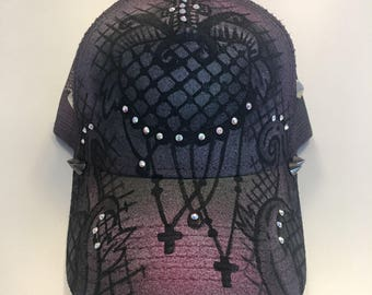 Gothic Purple and Black Ink Couture Hat