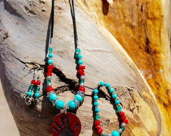 Turquoise Red Hand Necklace Set
