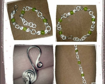 Green Jade Wire Work Bracelet