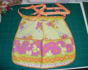Floral vintage style apron using vintage material