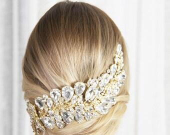 Ailani Head Piece- Gold with Silver Crystals Wedding Queen Tiara Crown Princess Head Band