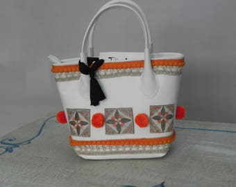 White leather bag, leather bag with shoulder strap, hand painted bag