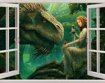 Dragon Guardian Forest 3D Window View Decal WALL STICKER Designer Mural Fantasy