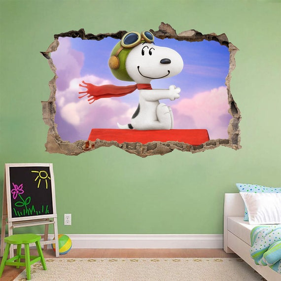 Snoopy Smashed Wall Red Baron Wall Decal by DecorShopDesigns