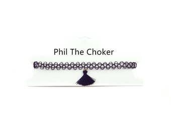 tattoo chocker with black tassel necklace chocker