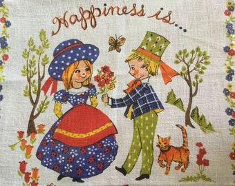 1978 Happiness Is calendar tea towel Kitsch design Vintage tea towel Vintage kitchen 40th birthday gift Collectibles