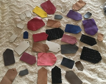 gift cards and colored leather price labels