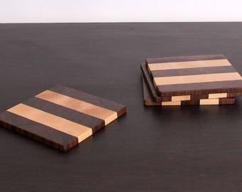 Wooden Coasters / Dark Coaster Set / Drink Coasters / Set of 4
