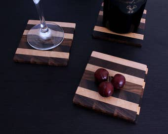Mixed Wooden Coasters / Coaster Set / Drink Coasters / Set of 4 / Sous-Verres