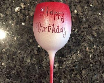 Painted Glitter Birthday Wine Glass