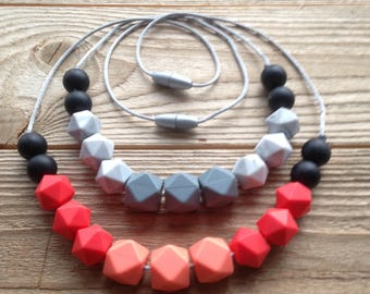 "Nursing necklace, teething necklace- ""Flame"" and ""Shadow"""