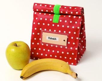 Lunch bag, lunch bags, red, coated cotton
