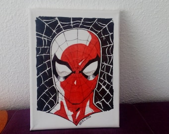 Spiderman Comic made with felt-tip pens on canvas