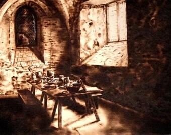 "Pyrography Art No.213 ""English Monastery"""