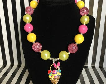 Red and Yellow Chunky Necklace with Easter Basket Pendant