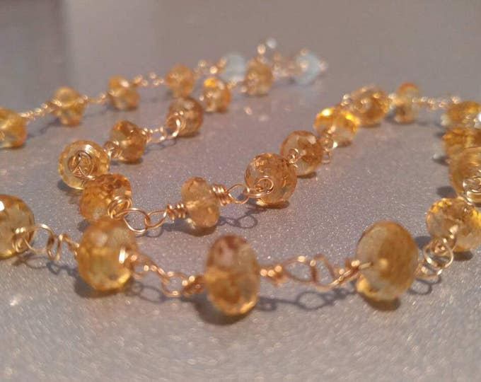 Yellow Citrine choker, 14k gold necklace,  golden yellow Citrine, AAA+ gemstones wrapped in 14kt Gold