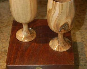 "Set Ambrosia Maple Wood Wine Glasses / Goblets   Black Walnut Box  6"" x 2.5"""